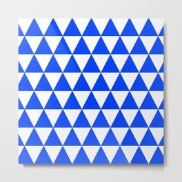 Triangle Texture (Blue & White) Metal Print