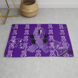 Power Purple For a Cure - Love Conquers All Rug