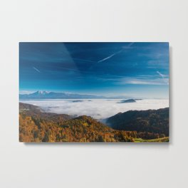 Autumn mountains and fog in the valley Metal Print