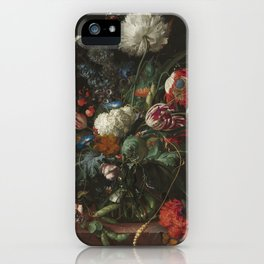 Jan Davidsz de Heem - Vase of Flowers (c.1660) iPhone Case