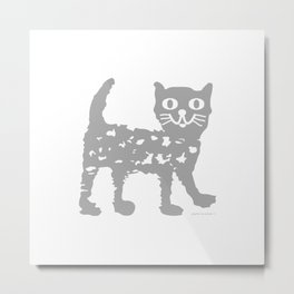 Gray cat pattern Metal Print
