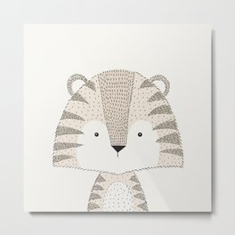Tiger, Baby Safari Animals Nursery Metal Print