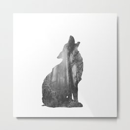 Wolf Silhouette | Forest Photography | Black and White Metal Print