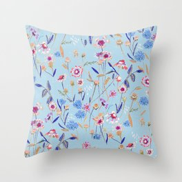 Field Flowers on Blue Throw Pillow