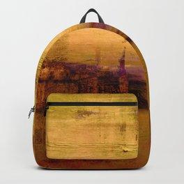 golden abstract landscape Backpack