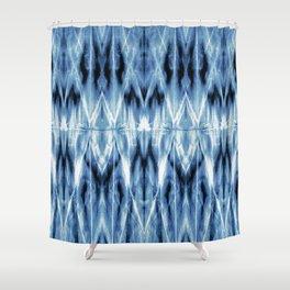 Blue Satin Shibori Argyle Shower Curtain