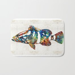 Colorful Grouper 2 Art Fish by Sharon Cummings Bath Mat