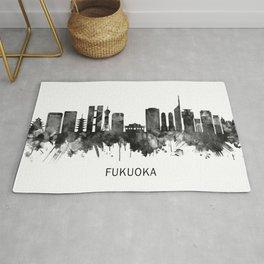 Fukuoka Japan Skyline BW Rug