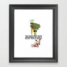 don't beat your meat. Framed Art Print