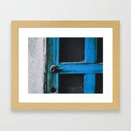 closeup old blue vintage wood door texture background Framed Art Print