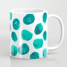 Esme - painted brushstroke emerald jade mint dots polka dots pattern design  Coffee Mug