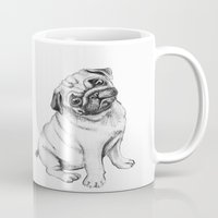 pug Mugs featuring Pug by Maripili