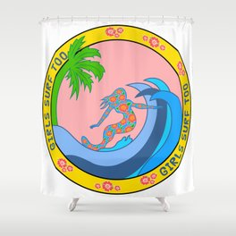 Girls Surf Too solid Shower Curtain