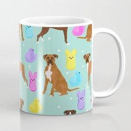 Boxer dog breed marshmallow peeps easter spring traditions cute dog breed gifts boxers Coffee Mug