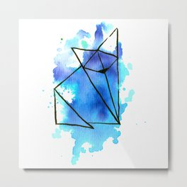 Origami: Fox (blue) Metal Print