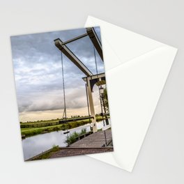 Canal and Bridge in Netherlands at Sunset Stationery Cards