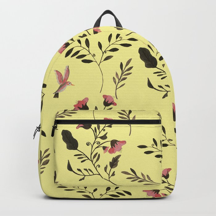 Rose Hummingbirds and Pink Flowers in Butter Yellow Floral Pattern with Pink Flowers and Bark Brown Backpack