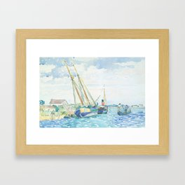 Marine Scene (Boats near Venice) by Henri-Edmond Cross1903, French Framed Art Print