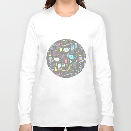 Insect watercolor grey textile texture Long Sleeve T-shirt