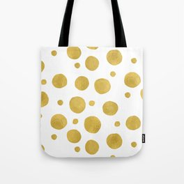 Painted Gold Dots on White Tote Bag
