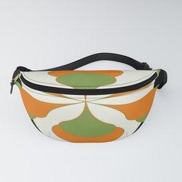 Mid-Century Modern Art 1.4 - Green & Orange Flower Fanny Pack