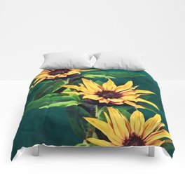 Watercolor sunflowers Comforters