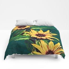 Watercolor sunflowers Comforters