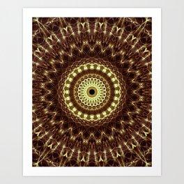 Detailed mandala in brown and golden tones Art Print