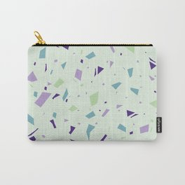 Mint Chip Terrazzo - Purple Speckles - Granite Marble Pattern Texture Carry-All Pouch