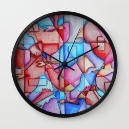 Cubist Chickens Wall Clock
