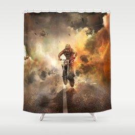 Extreme Motocross Wheelie Shower Curtain