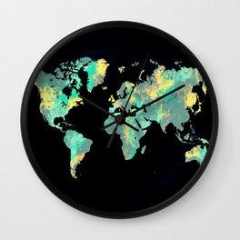 world map 87 green blue Wall Clock