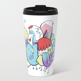 Techno-Color Birds Travel Mug