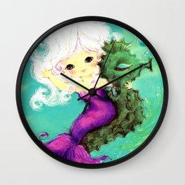 Mermaid waving from Seahorse Wall Clock
