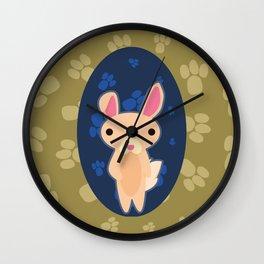 Rabbit with Paw Print Wall Clock