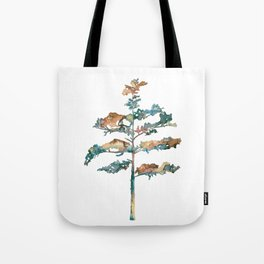 Pine Tree #2 in pink and blue - Ink painting Tote Bag