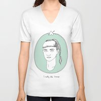 grimes V-neck T-shirts featuring Grimes by Anna Wanda Gogusey