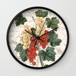 Vintage Botanical Currant with Distressed Script Digital Collage Wall Clock
