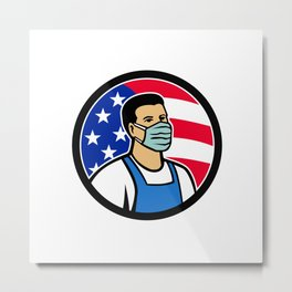 American Food Worker as Hero USA Flag Circle Icon Metal Print