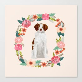 brittany spaniel dog floral wreath dog gifts pet portraits Canvas Print