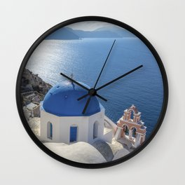 Santorini Island with churches and sea view in Greece Wall Clock