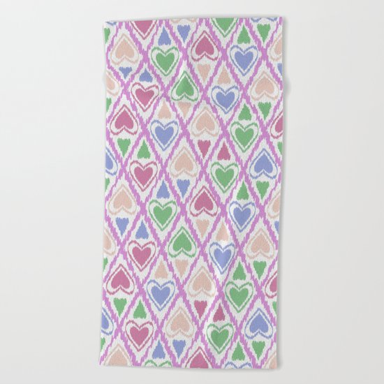 Favorite pattern . Brown, pink , green . Beach Towel
