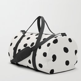 Modern Polka Dots Black on Light Gray Duffle Bag