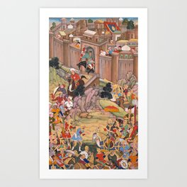 The Siege of Arbela in the Era of Hulagu Khan by Basavana - 16th Century Classical Indian Art Art Print
