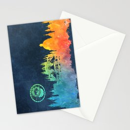 Prague colored skyline Stationery Cards