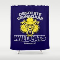 royal tenenbaums Shower Curtains featuring Obsolete Vernacular Wildcats (Royal Tenenbaums) by Tabner's