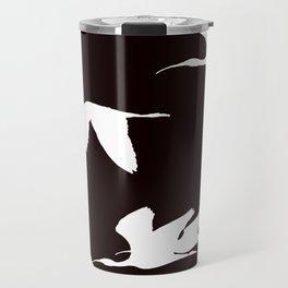 White Silhouette of Glossy Ibises In Flight Travel Mug