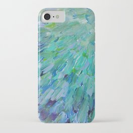 SEA SCALES - Beautiful Ocean Theme Peacock Feathers Mermaid Fins Waves Blue Teal Color Abstract iPhone Case