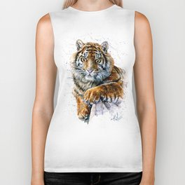 Tiger watercolor Biker Tank
