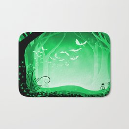 Dark Forest at Dawn in Emerald Bath Mat